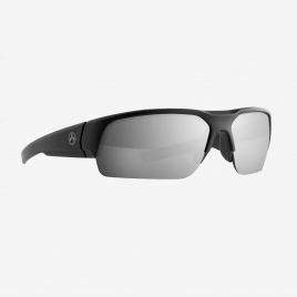 Angled front view of Magpul Helix Eyewear, Polarized, Black Frame, Gray Lens/Silver Mirror