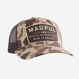 Magpul Go Bang Trucker in Raider Camo on crown and brim with large brown Magpul Quality Go-Bang Parts patch