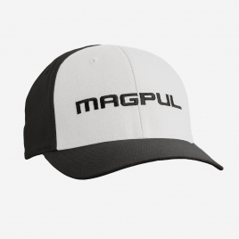 Magpul Wordmark Stretch Fit Hat in Black and White with Magpul embroidered on the crown