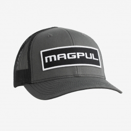 Magpul Wordmark Patch Trucker in Black/Gray with large Magpul patch on crown