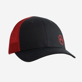 Magpul Icon Trucker in Black/Red with embroidered Red Magpul Logo on the crown