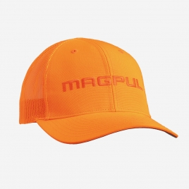 Magpul Wordmark Blaze Orange Trucker in all orange with orange Magpul embroidery on the crown