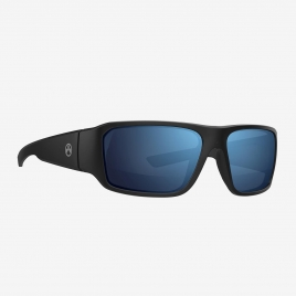 Magpul Rift Eyewear, Polarized - Black Frame, Bronze Lens/Blue Mirror angled front view