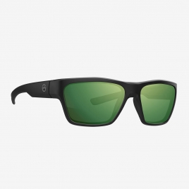 Magpul Pivot Eyewear, Polarized - Black Frame, High Contrast Violet Lens/Green Mirror angled front view