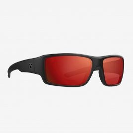 Magpul Ascent Eyewear, Polarized - Black Frame, Gray Lens/Red Mirror angled front view