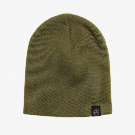 Olive Magpul Beanie with black, logoed tag over hem