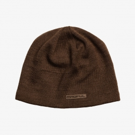 Brown Magpul Tundra Beanie with small brown Magpul wordmark patch