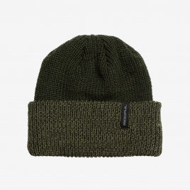 Folded Olive Drab Heather Magpul Merino Watch Cap showing shade differences with black, wordmark tag over hem