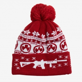 Magpul Ugly Christmas Beanie in red and white with graphics of AR's and Magpul logos, with red pom on top