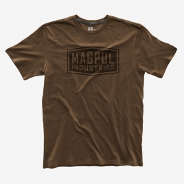 Brown Magpul Industries Fine Cotton T-Shirt with dark brown graphic of the company name