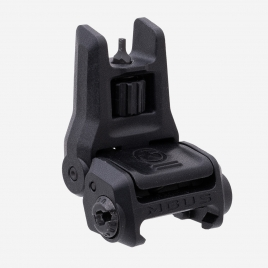 Angled front view of MBUS 3 Front Sight in deployed position showing protected, adjustable sight post and ambi release button