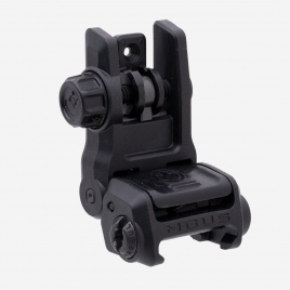 Angled front view of deployed Magpul MBUS 3 Rear Sight showing protected flip aperture and ambi release button
