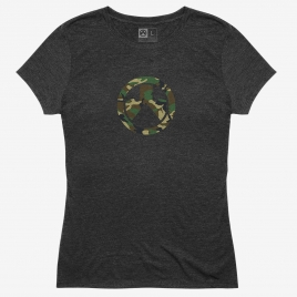 Charcoal Heather Magpul Women's Woodland Camo Icon Tri-Blend T-Shirt with woodland camo Magpul logo on the front