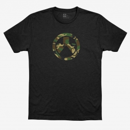 Black Magpul Woodland Camo Icon CVC T-Shirt with woodland camo Magpul logo on the front