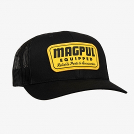 Magpul Equipped Trucker hat in Black with large yellow Magpul Equipped patch on crown