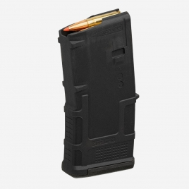 Magpul PMAG 20 AR 300 B GEN M3 angled view showing compact dimensions and Blackout specific ribbing pattern