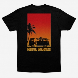 Magpul Sun's Out Cotton T-Shirt back print of Microbus with minigun on a beach next to a surfboard