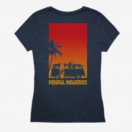 Magpul Women's Sun's Out CVC T-Shirt back print of Microbus with minigun on a beach next to surfboard