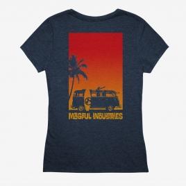 Magpul Women's Sun's Out CVC T-Shirt back print of Microbus with minigun on a beach next to surfboard