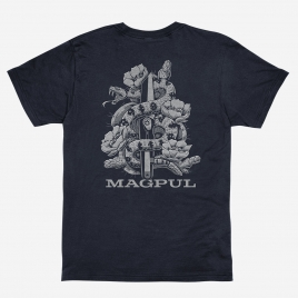Magpul Diamondback Cotton T-Shirt, back print of coiled snake and flowering cactus around Magpul Rigger Knife