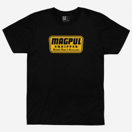 Black Magpul Equipped Tee with yellow graphic on chest. Reliable Parts & Accessories.