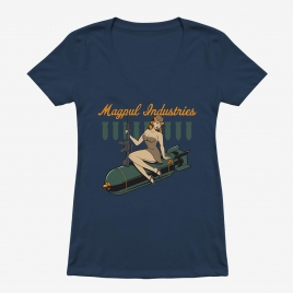 Magpul Women's Bombshell Cotton T-Shirt with graphic on front of 40's pinup girl holding an AR and sitting on a bomb