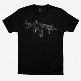 Magpul Blueprint Blend T-Shirt with white line art graphic of AR15 with Magpul accessories and red logo