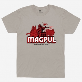 Magpul Nonstop Polymer Action Cotton T-Shirt with red and black graphic of toy soldiers and MBUS
