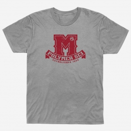 """Magpul University Blend T-Shirt with college inspired faded """"Polymer Sci"""" """"Established 1999"""" logo"""
