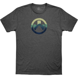 Magpul Cascade Icon Logo CVC T-Shirt in Charcoal Heather with Magpul logo filled with mountain background