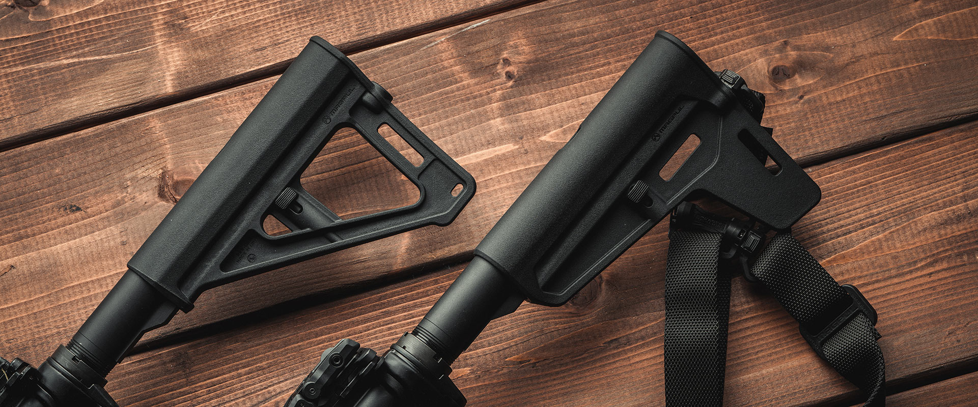 Magpul BTR and BSL Arm Braces side by side on wooden board table
