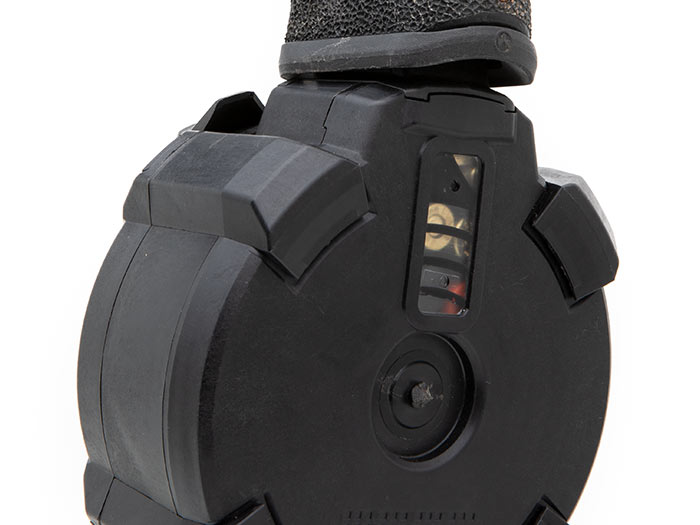 Rear view of Magpul PMAG D-50 GL9, GLOCK with rounds-remaining window inserted in gun