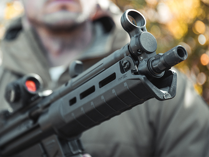 Muzzle-end view of Magpul SL Hand Guard MP5 showing its rugged polymer construction and M-LOK slots