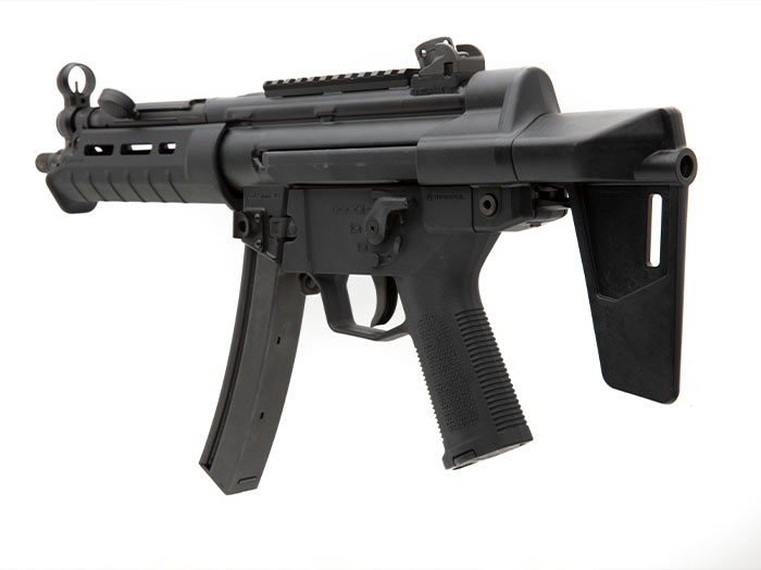 Rear view of collapsed Magpul BSL HK94/MP5 Arm Brace on MP5 showing forearm support and rear QD socket