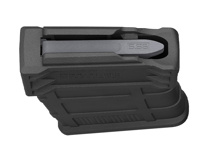 Top of Magpul PMAG 10 5.56 AC showing single stack geometry, offset feed lips, and self-lubricating follower for reliability
