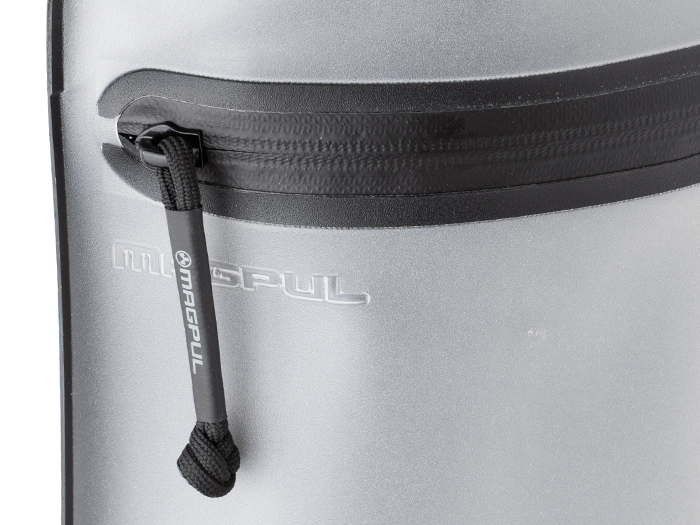 Closeup of Magpul DAKA Volume Pouch's Aquaguard zipper and welded construction for water repellency