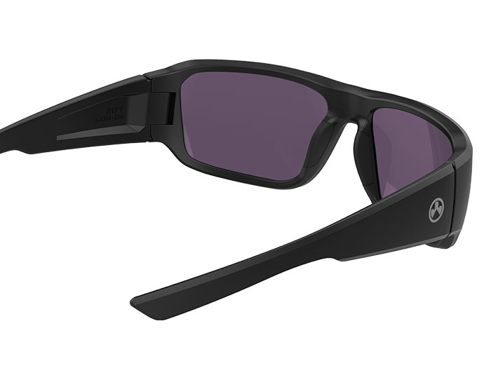 Inside angled view of Magpul Rift Eyewear, Polarized - Black Frame, High Contrast Violet Lens/Green Mirror