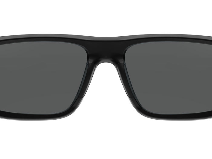 Closeup of Magpul Rift Eyewear - Black Frame, Gray Lens showing padded low profile temples