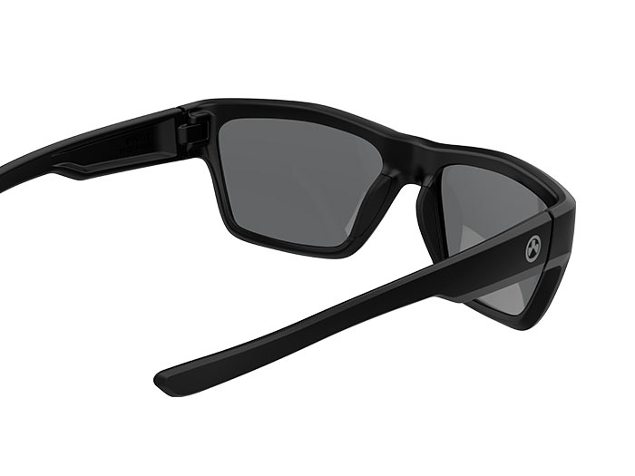 Inside angled view of Magpul® Pivot Eyewear - Black Frame, Gray Lens with thin stems visible