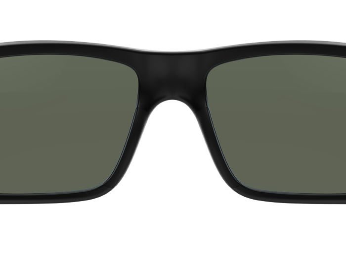 Closeup of Magpul Ascent Eyewear, Polarized - Black Frame, Gray Green Lens showing padded low profile temples