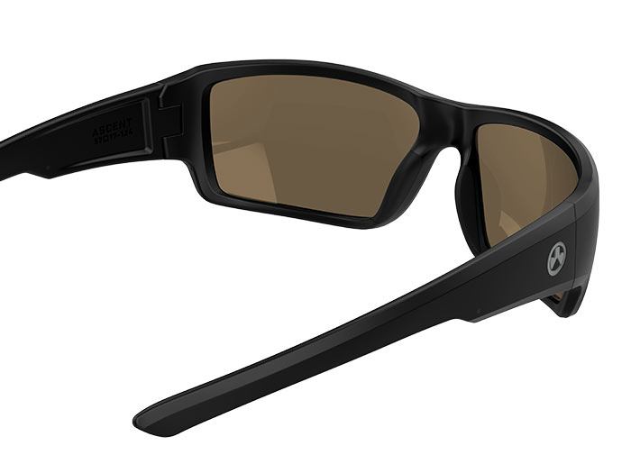 Inside view of Magpul Ascent Eyewear, Polarized - Black Frame, Bronze Lens/Blue Mirror with thin stems visibleInside view of Magpul Ascent Eyewear, Polarized - Black Frame, Bronze Lens/Blue Mirror with thin stems visible