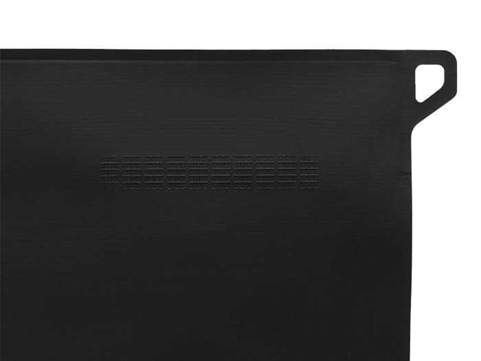Magpul DAKA Large Volume Pouch, closeup of black DAKA material, debossed paint pen dot matrix, and carabiner loop