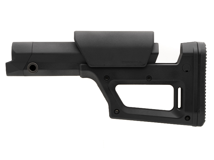 Magpul PRS Lite side view showing stock extended, cheek piece raised, and multiple sling mount options