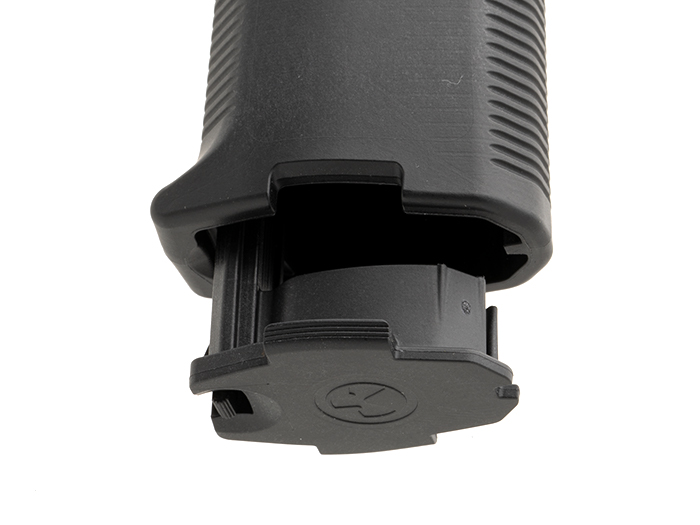 Bottom of Magpul MOE K2-XL showing the extra large Grip Cap that accepts oil bottle