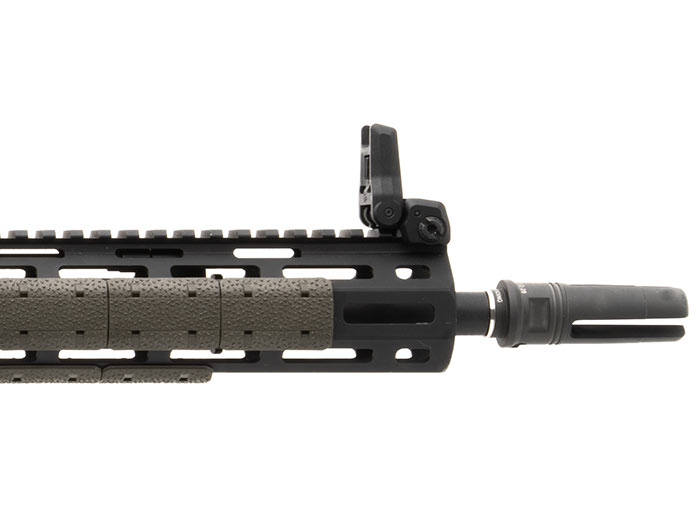 Side view of deployed Magpul MBUS 3 Front Sight on railed forend with M-LOK covers showing compact dimensions