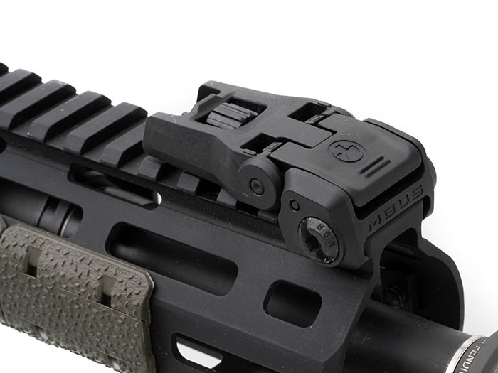 View of stowed MBUS 3 Front Sight on railed forend showing low installed height and compact dimensions