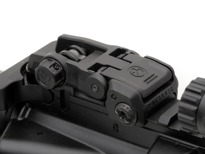 View of stowed MBUS 3 Rear Sight on receiver showing low installed height and compact dimensions