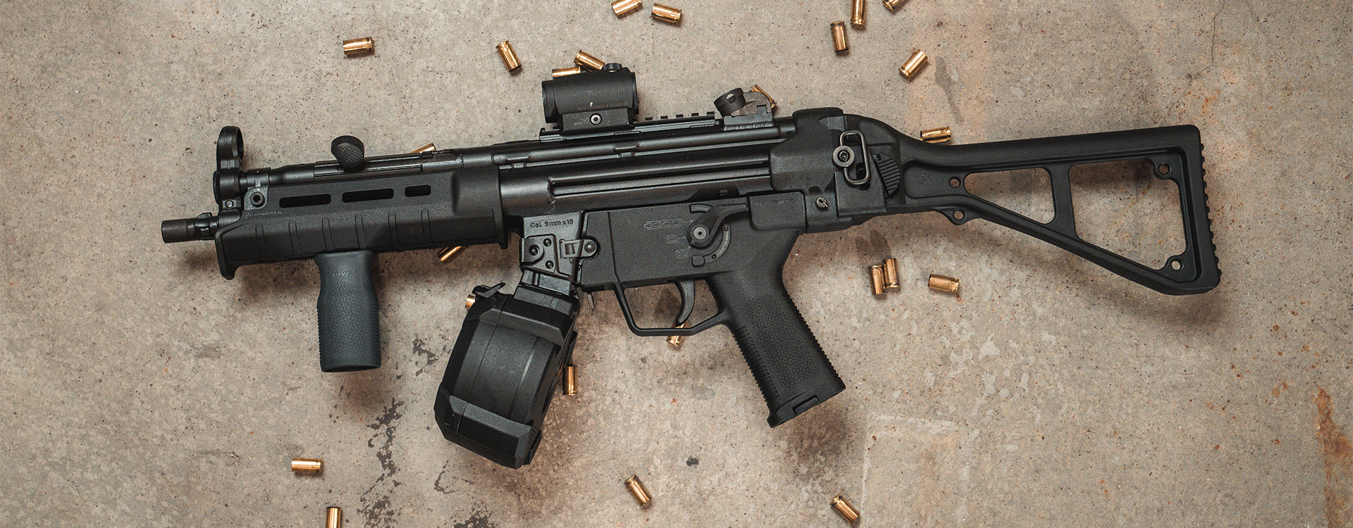 Magpul PMAG D-50 MP in MP5 clone with Magpul SL Hand Guard, SL Grip Module, ESK Selector, and M-LOK MVG