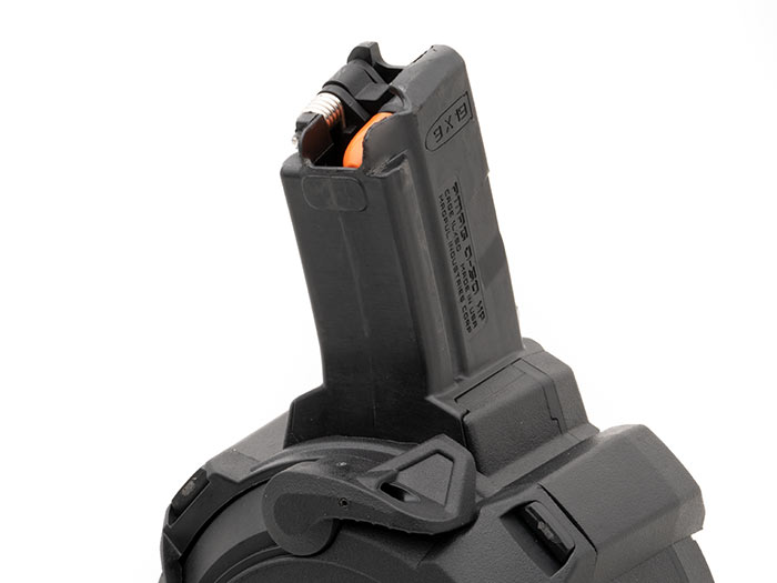 Feed tower of Magpul PMAG D-50 MP for HK94/MP5 with last round bolt hold open
