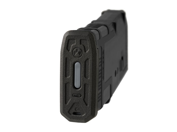 Bottom of Magpul PMAG 20 AR 300 B GEN M3 with slim line floorplate and other standard GEN M3 features